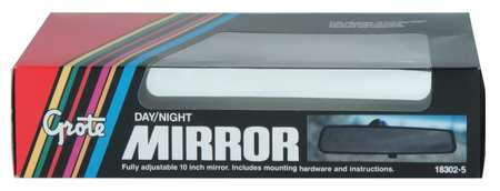 Rear View Mirror, 10 x 2-7/16 In