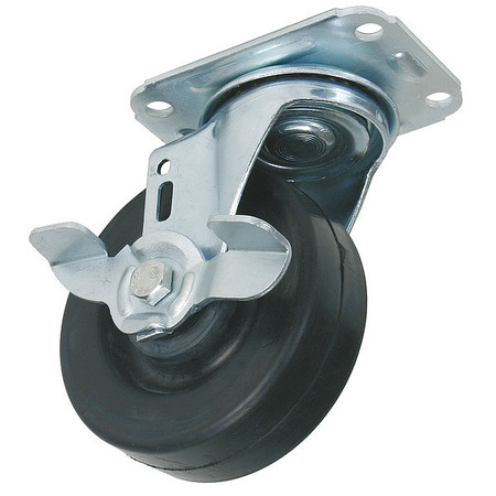 Swivel Plate Caster, Rubber, 4 in., 275 lb.