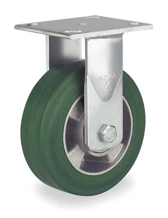 Plate Caster, Rigid, Rubber, 8 in., 880 lb.