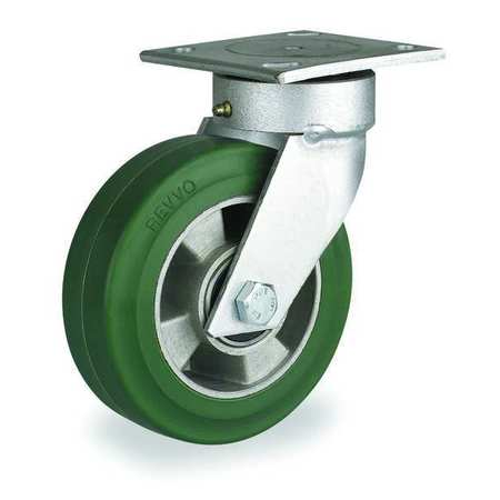 Kingpinless Plate Caster, Swivel, Rbr, 6 in., 660 lb.