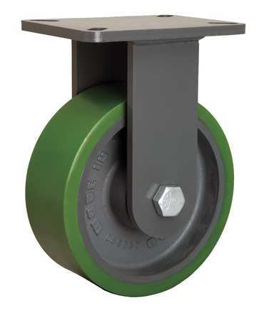 Plte Caster, Rgd, Poly, 8 in., 2500 lb.