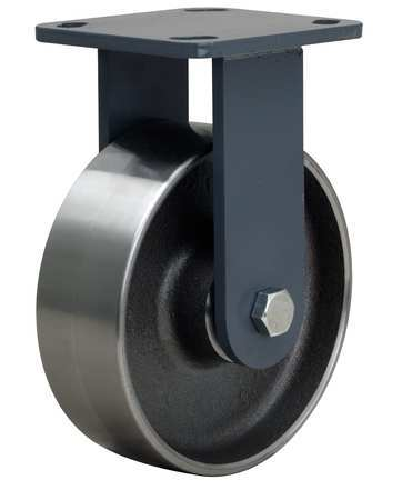 Plte Caster, Rgd, Forged Stel, 6 in, 2000 lb