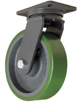 Plate Caster, Swivel, Poly, 10 in., 3000 lb.