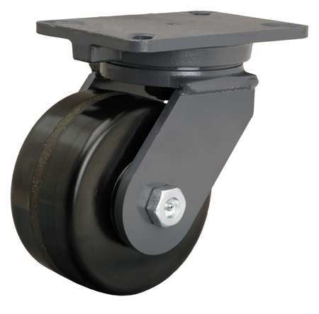 Plate Caster, Swivel, Phenolic, 6 in., 2000 lb.
