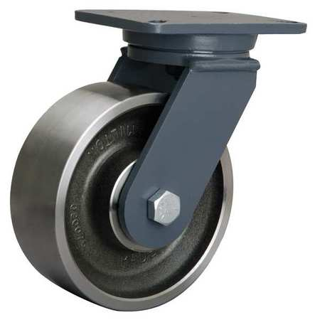Plate Caster, Swivel, Forged Steel, 8 in, 4000 lb