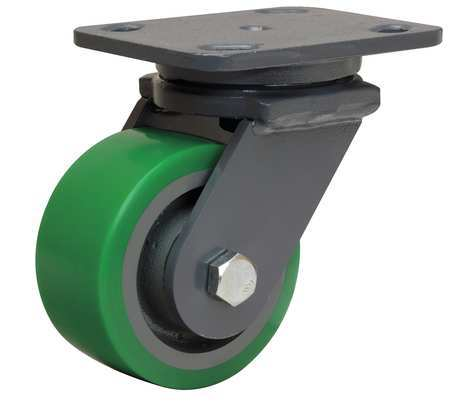 Plate Caster, Swivel, Poly, 4 in., 750 lb.