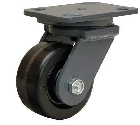 Plate Caster, Swivel, Phenolic, 4 in., 800 lb., B