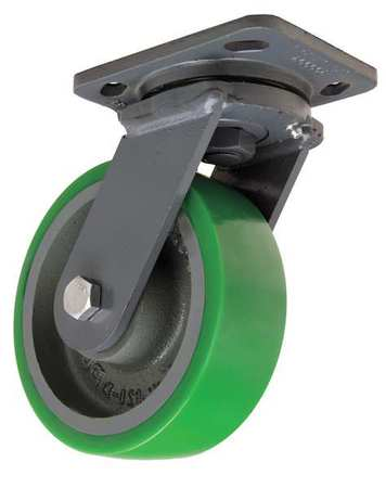 Plate Caster, Swivel, Poly, 6 in., 1250 lb.