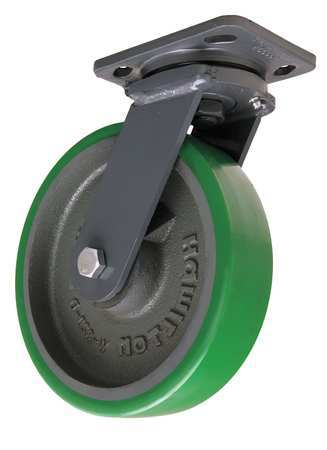 Plate Caster, Swivel, Poly, 8 in., 1550 lb.