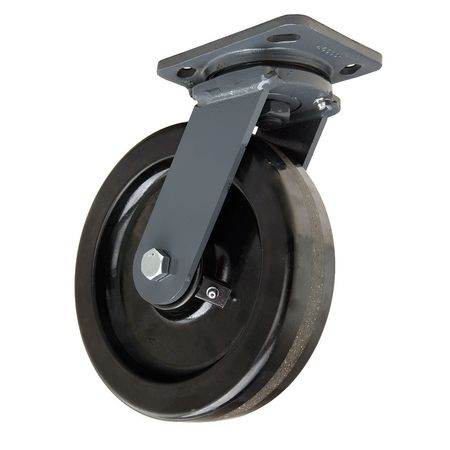 Plate Caster, Swivel, Phenolic, 8 in., 1400 lb, Blk
