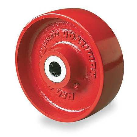 Caster Wheel, Cast Irn, 6 in., 1400 lb., Red