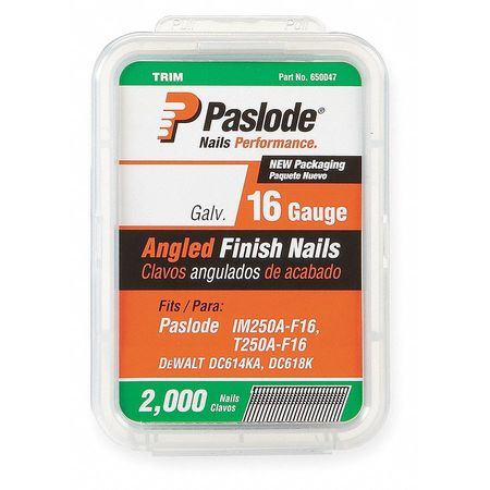 Angled Finish Nail, 16ga, 1-1/2 In, PK2000