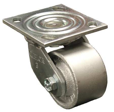 Swivel Plate Caster, Cast Iron, 3-1/4 in,  700 lb