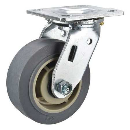 Swivel Plate Cstr, 5 in Dia, 375 lb, Roller