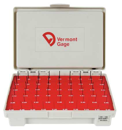 Pin Gage Set, Minus, 0.20-1.28mm, Black