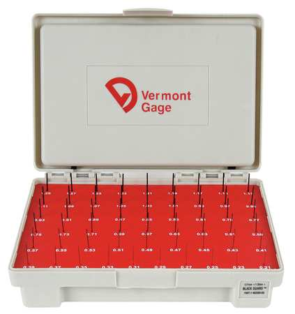 Pin Gage Set, Plus, 0.21-1.29mm, Black
