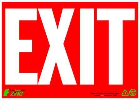 Exit Sign, 10 x 14In, WHT/R, Recycled AL