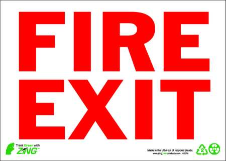 Fire Exit Sign, 10 x 14In, R/WHT, Fire Exit