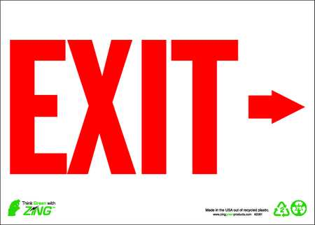 Exit Sign, 10 x 14In, R/WHT, Recycled AL