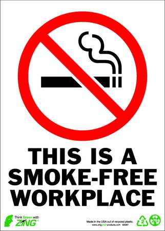 No Smoking Sign, 14 x 10In, R and BK/WHT