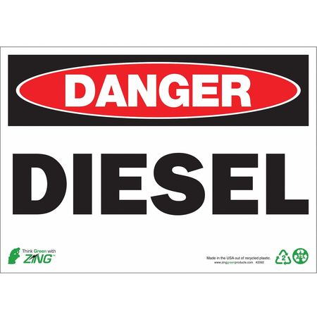 Danger Sign, Diesel, 10 x 14In, Alum