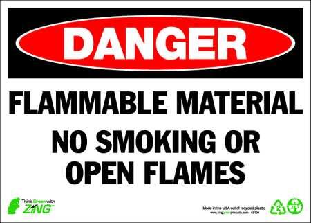 Danger No Smoking Sign, 10 x 14In, ENG