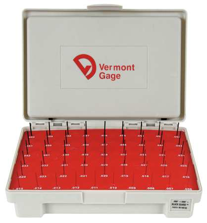 Pin Gage Set, Plus, 0.006-0.060 In, Black