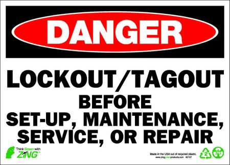 Danger Security Sign, 10 x 14In, ENG, Text