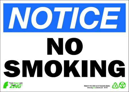 Notice No Smoking Sign, 10 x 14In, ENG