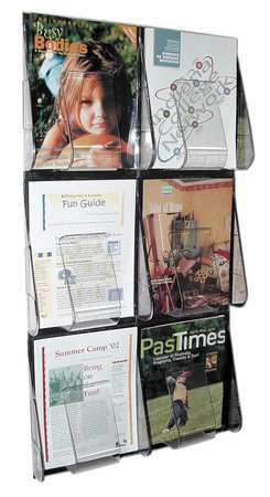 "Magazine Holder 6 Compartments,  18-1/4""W x 2-7/8""D Clear"