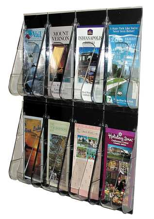 "Leaflet Holder 8 Compartments,  18-1/4""W x 2-7/8""D Clear"