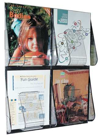 "Magazine Holder 4 Compartments,  18-1/4""W x 2-7/8""D Clear"