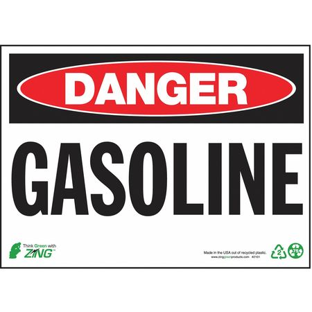 Danger Sign, Gasoline, 10 x 14In, Alum