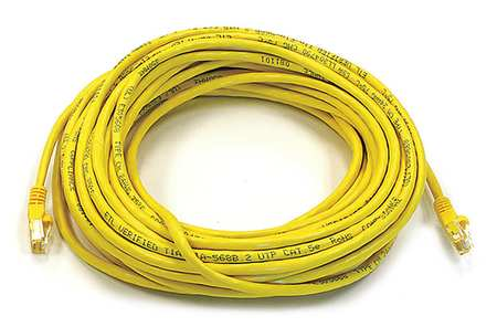Ethernet Cable, Cat 5e, Yellow, 50 ft.