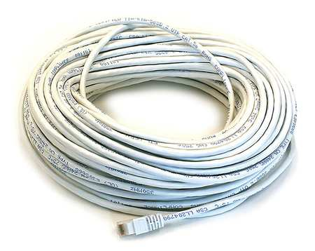 Ethernet Cable, Cat 5e, White, 100 ft.