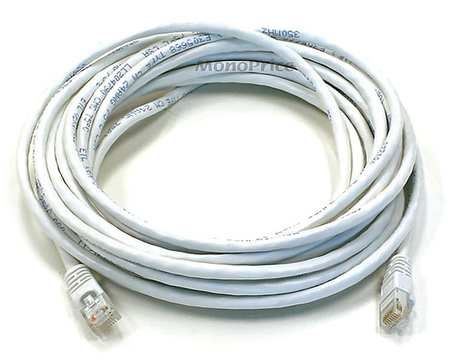 Ethernet Cable, Cat 6, White, 20 ft.
