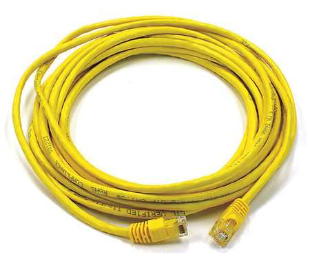 Ethernet Cable, Cat 6, Yellow, 20 ft.