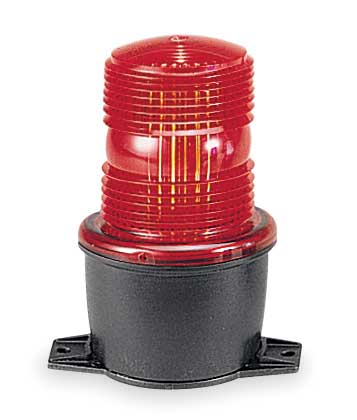 Low Profile Warning Light, LED, Red, 120VAC