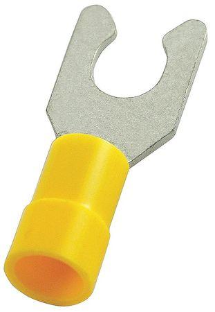 Fork Terminal, Lockng, #8 Stud, Yellow, PK50