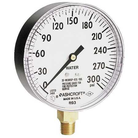 Pressure Gauge, 0 to 300 psi, 3-1/2In