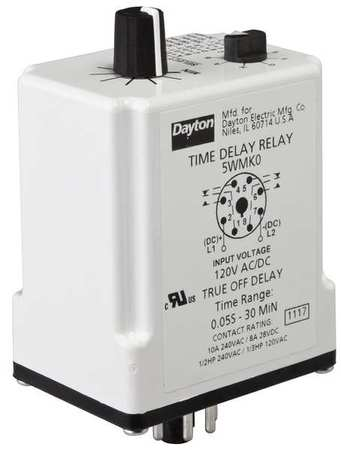 Time Delay Relay, 120VAC/DC, 10A, DPDT