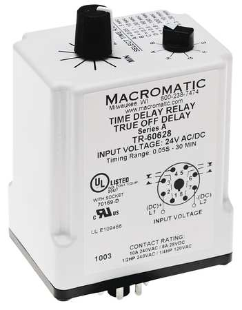 Time Delay Relay, 24VAC/DC, 10A, DPDT