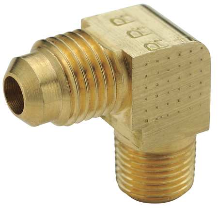 "3/8"" Flare x MNPT Brass Extruded 90 Degree Elbow 10PK"