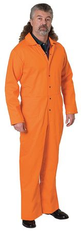 Flame Resistant Coverall,  Orange,  Cotton,  L