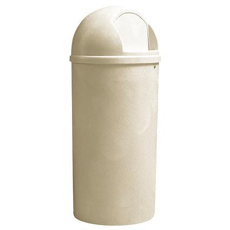 25 gal.  Round  Beige  Trash Can