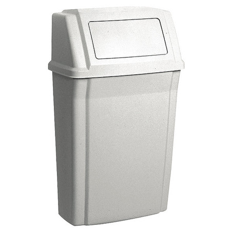 15 gal. Beige Polypropylene Rectangular Trash Can