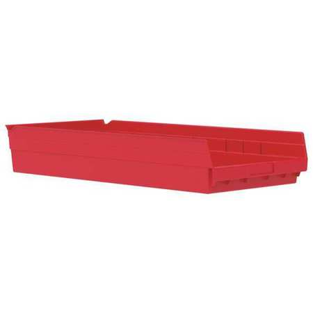 Shelf Bin, 23-5/8 In. L, 4 In. H, Red