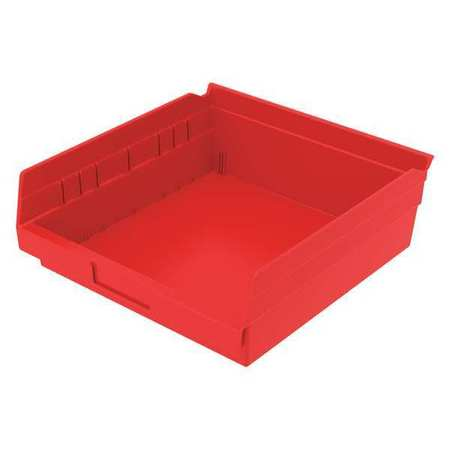 Shelf Bin, 11-5/8 In. L, 4 In. H, Red