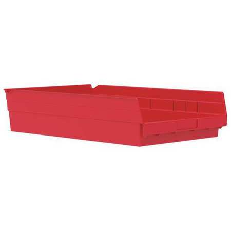 Shelf Bin, 17-7/8 In. L, 4 In. H, Red
