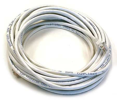 Ethernet Cable, Cat 6, White, 25 ft.